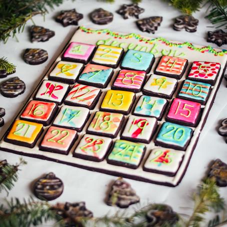 Chocolate Sugar Cookie Advent Calendar with Cinnamon Vanilla Royal Icing