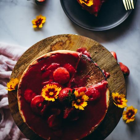 Strawberry Honey Swirl Cheesecake