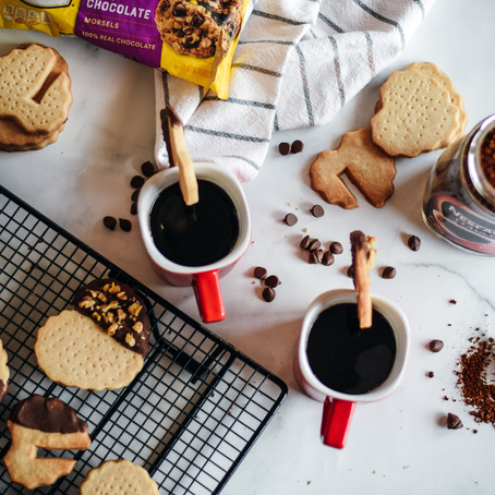 Chocolate Dipped Spiced Shortbread Coffee Dunkers