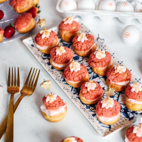 Pink Strawberry Cheesecake Chouquettes