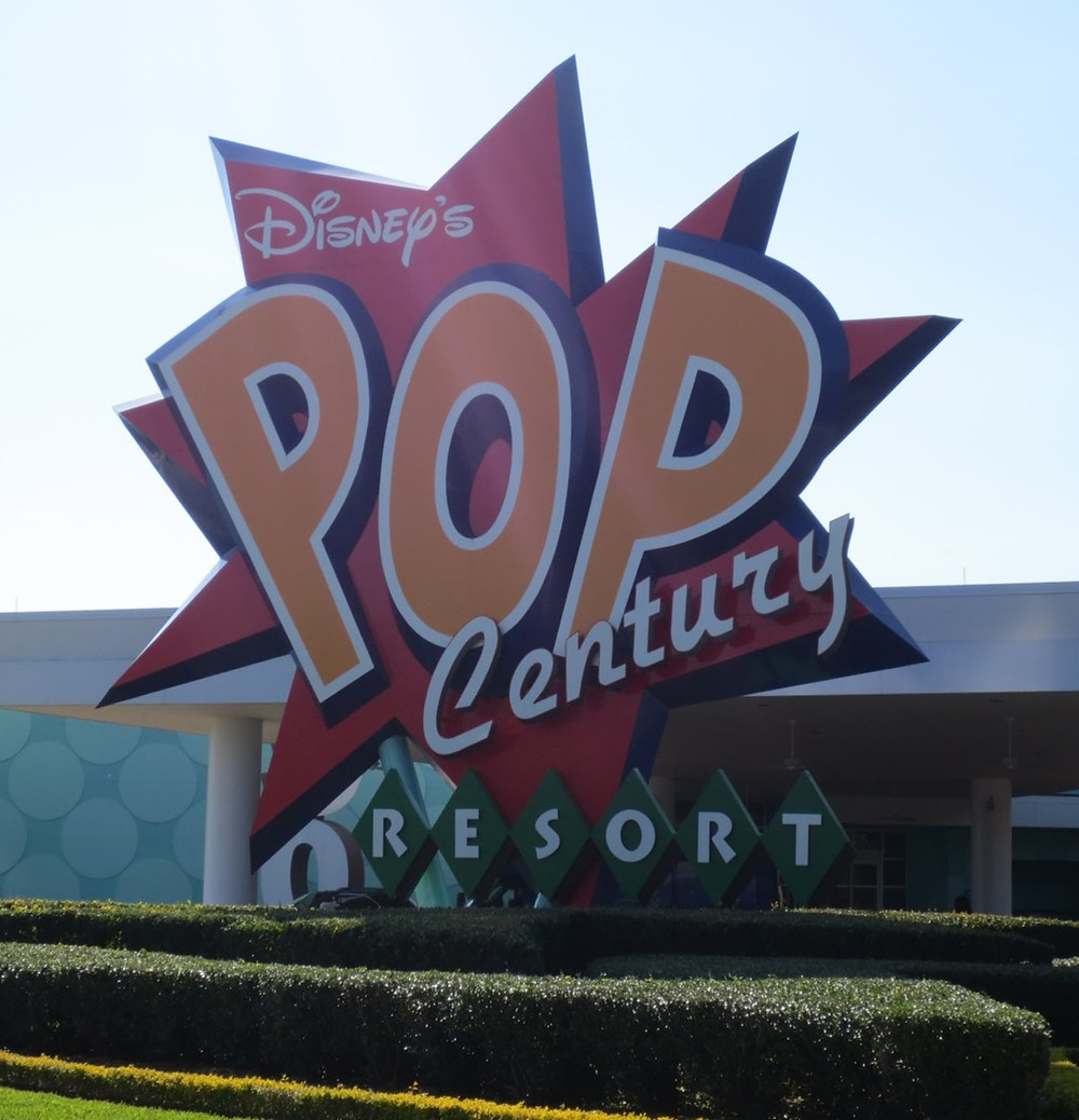 Large sign in front of Disney's Pop Century Resort