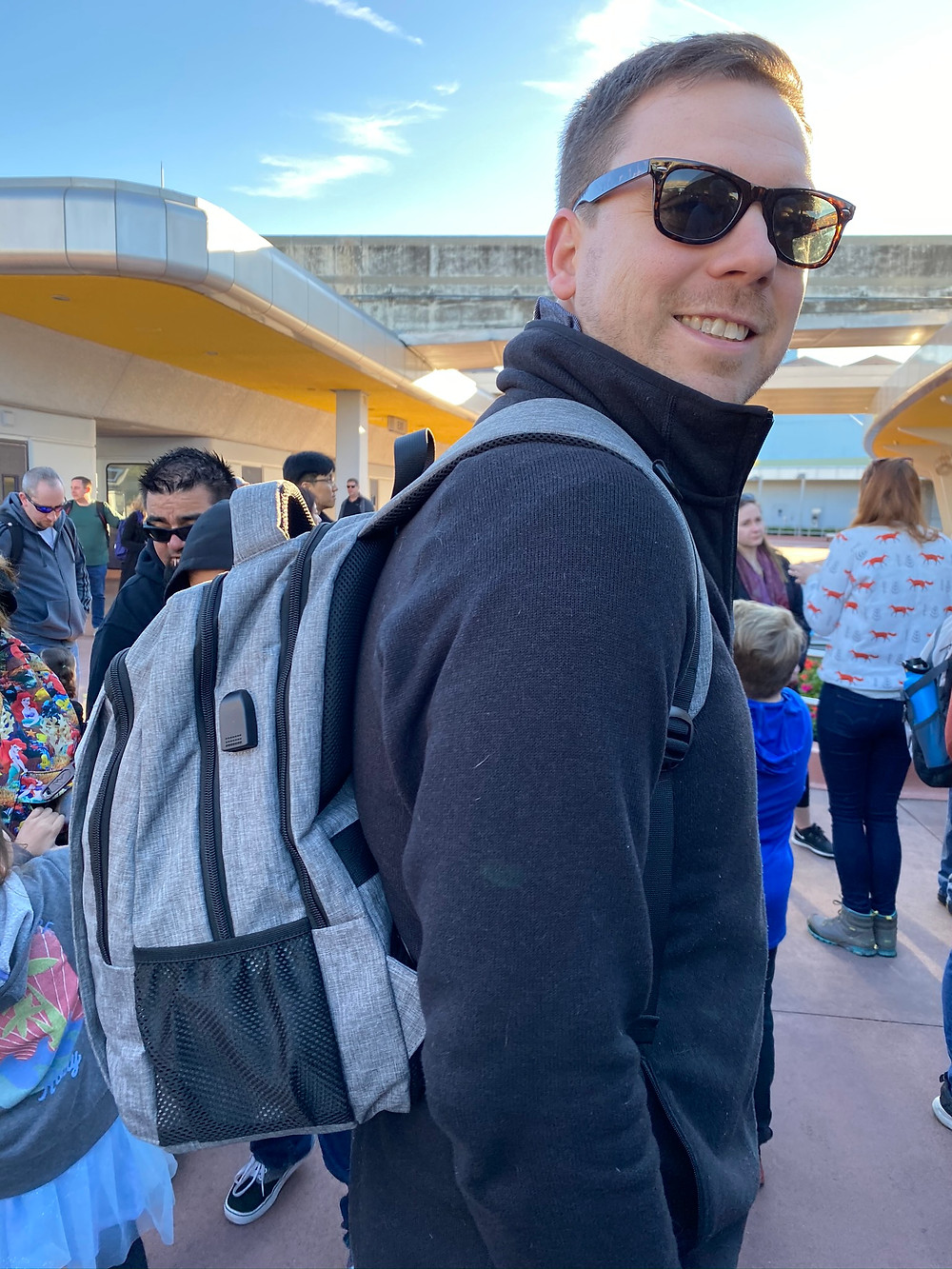 Wearing a backpack at Epcot