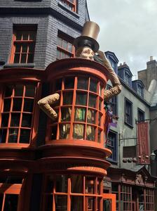 Shop window for Weazley's Wizard Wheezes shop in Diagon Alley