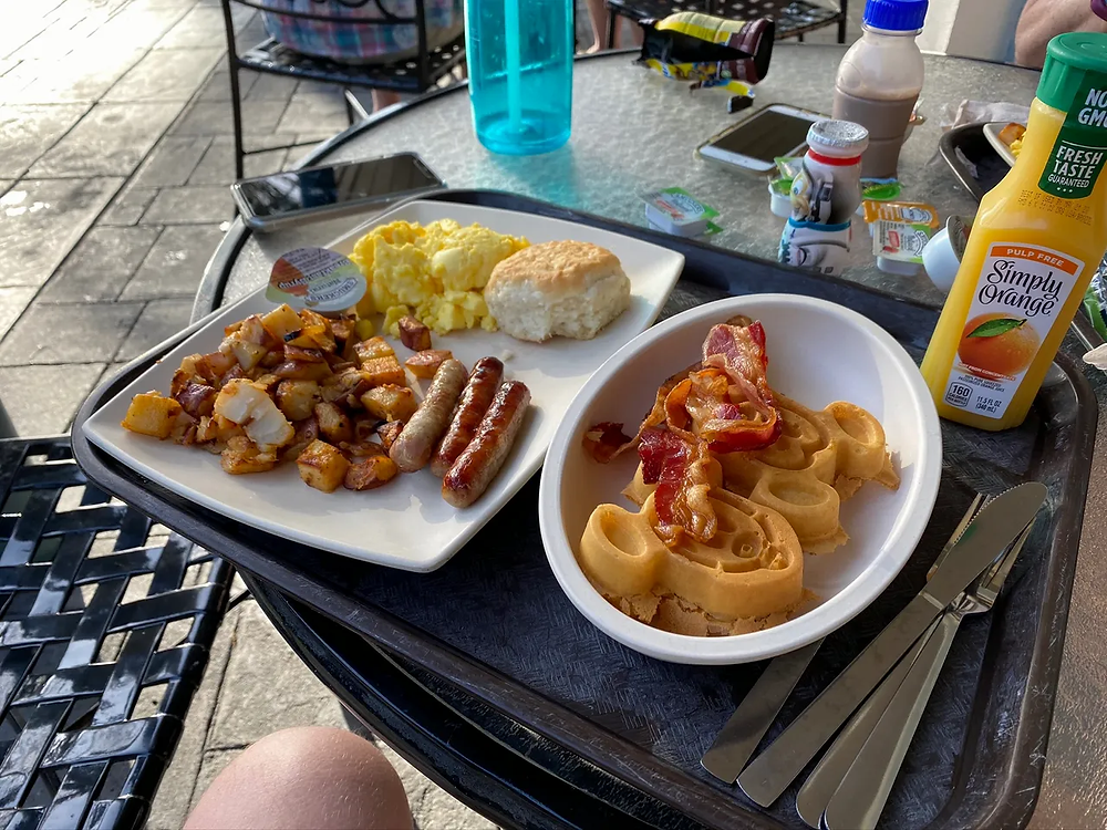 Breakfast with Mickey Waffles, Sausage, Bacon, Hashbrowns, Eggs and Biscuit at Disney's Port Orleans - French Quarter