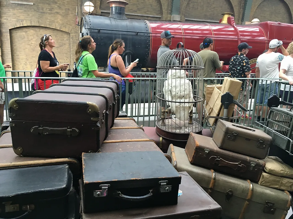 Luggage waiting to be loaded on the Hogwarts Express, with train engine in background