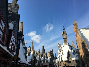 Snow covered rooftops of Hogsmeade Village from Harry Potter at Islands of Adventure in Universal Orlando Resort