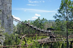 View of the track for Hagrid's Magical Creatures Motorbike Adventure @ Universal's Islands of Adventure