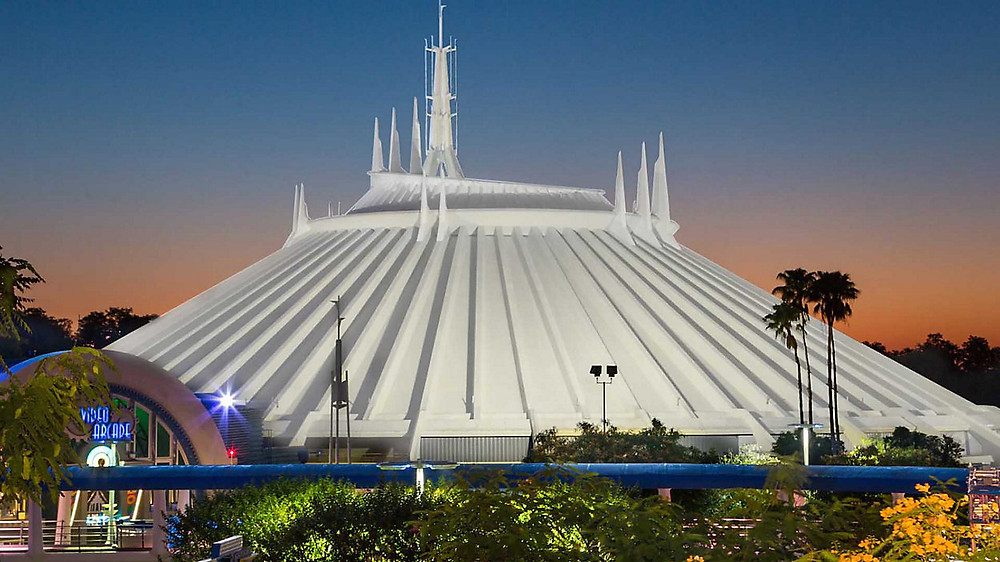 Nightime view of Space Mountain from the People Mover