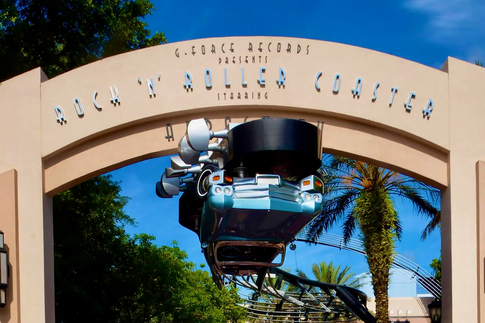 "Image of an upside down car at the entrance of the Rock ""n"" Roller Coaster at Disney's Hollywood Studios"
