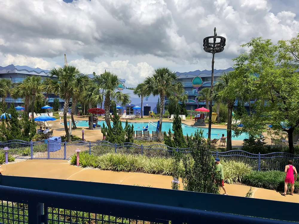 Little Mermaid themed pool, called Flippin Fins' Pool in Little Mermaid Section of Resort