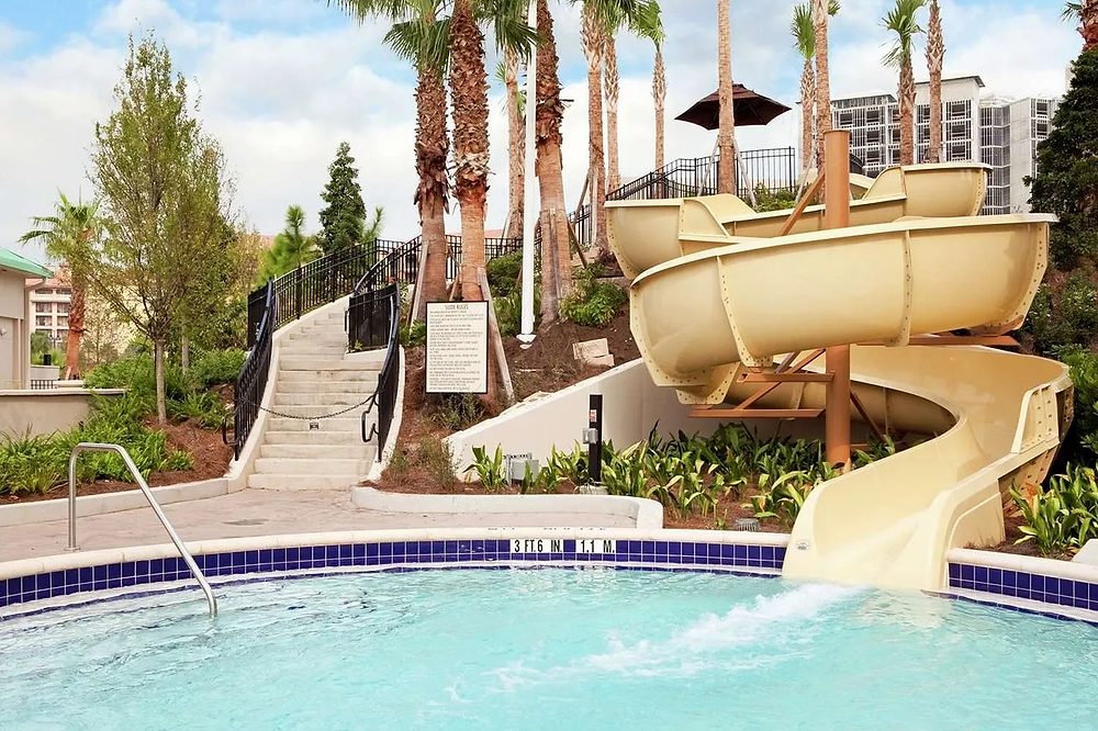 Long and curvy waterslide at Hilton Bonnet Creek Pool