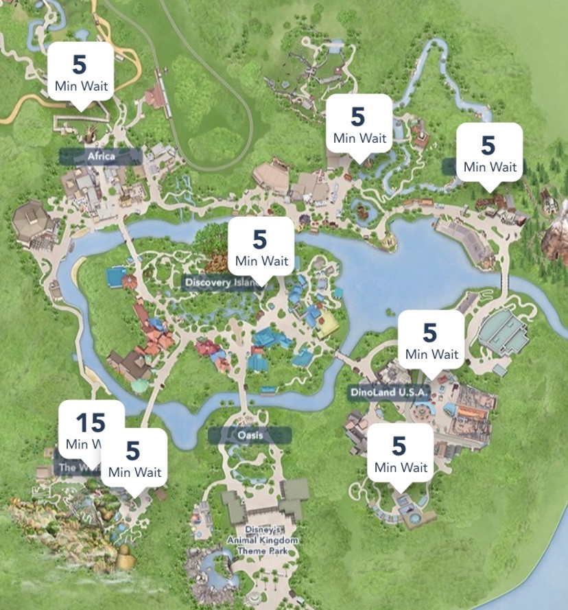 Disney World park map of Animal Kingdom showing wait time for Flight of Passage and Expedition Everest among other rides