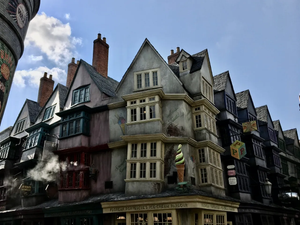 View of the crooked shops in Diagon Alley