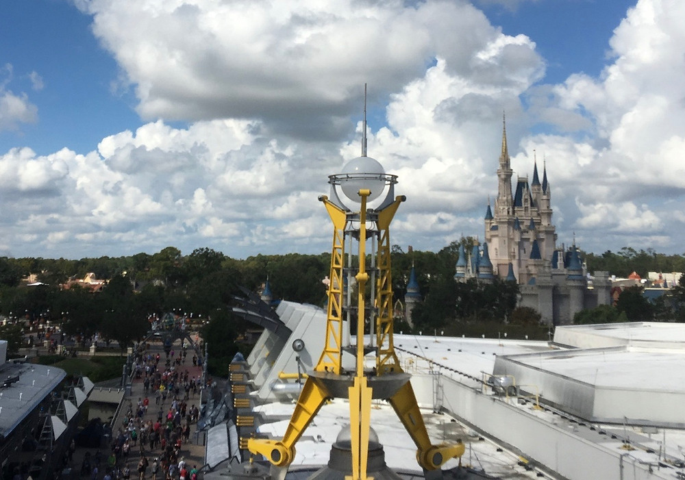 Cinderella Castle viewed from riding on the Astro Orbiter