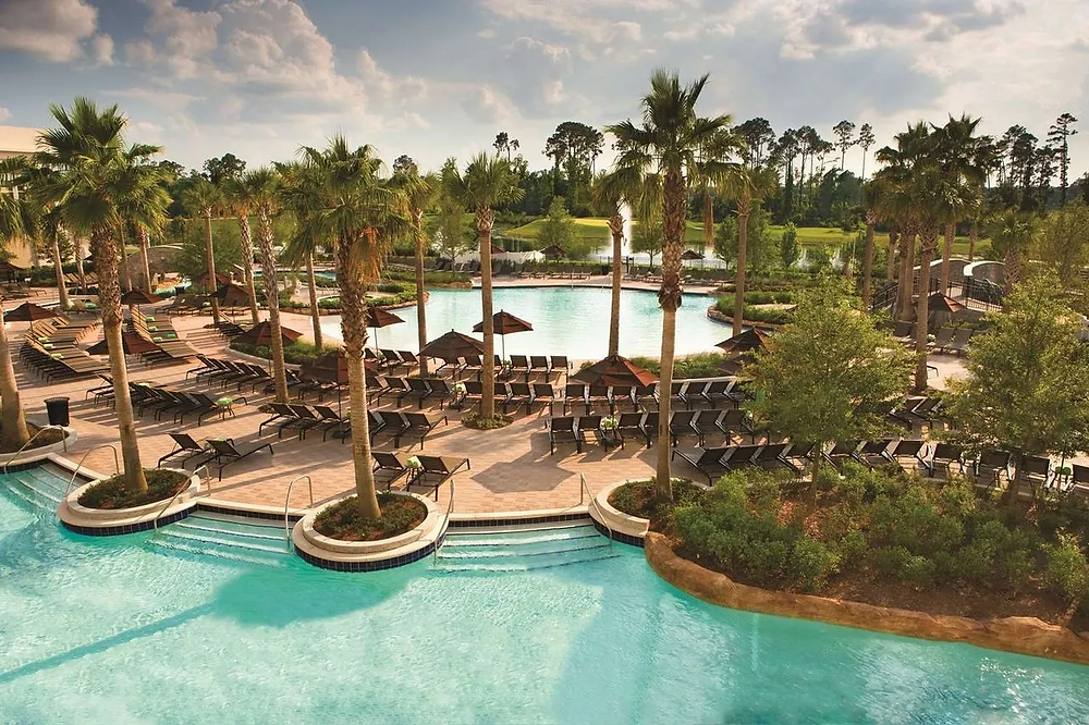 View of the pool at Hilton Bonnet Creek in Orlando, Florida at Disney World