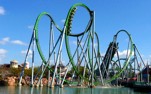 View of the looping track for The Incredible Hulk Coaster @ Universal's Islands of Adventure