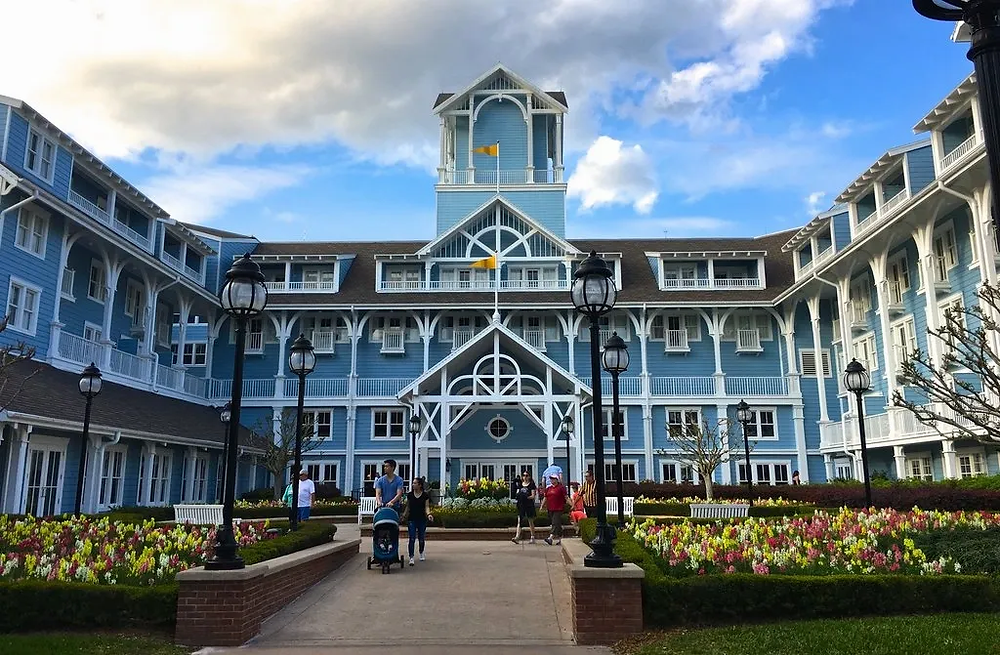 View of the entrance to Disney's Beach Club Resort.