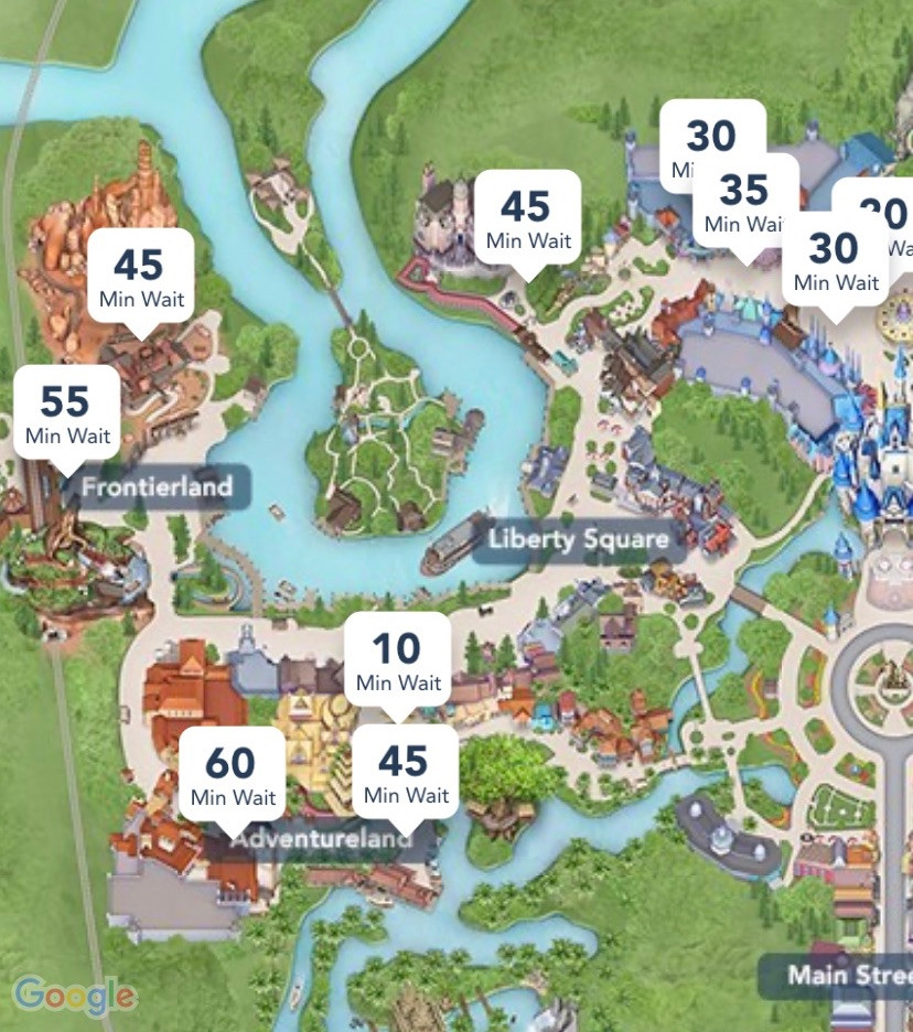 Picture of wait times in Magic Kingdom in Disney World