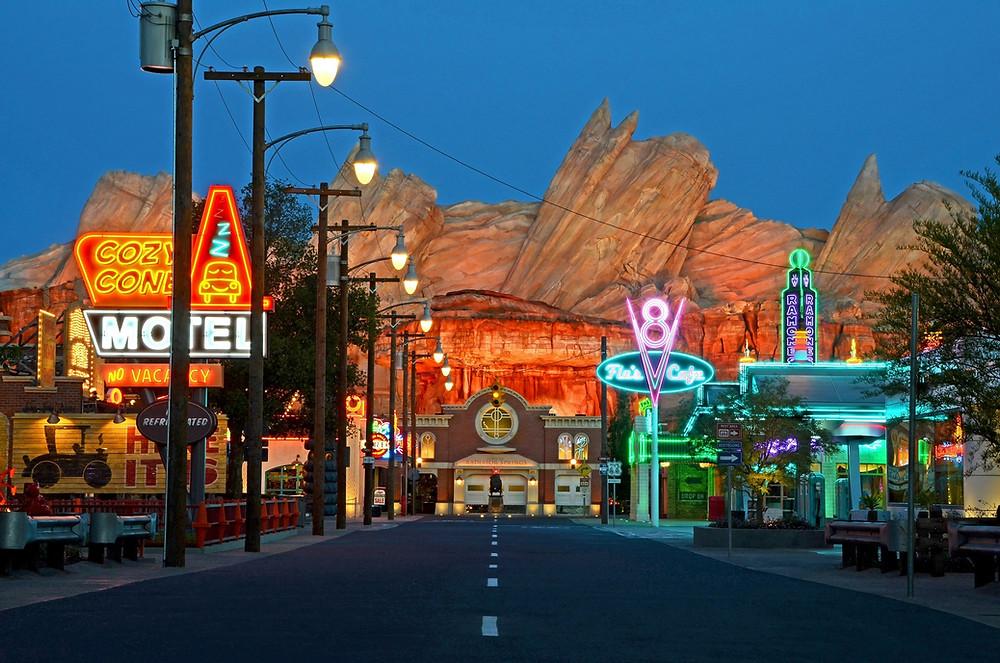 Cars Land at Night at Disney's California Adventure
