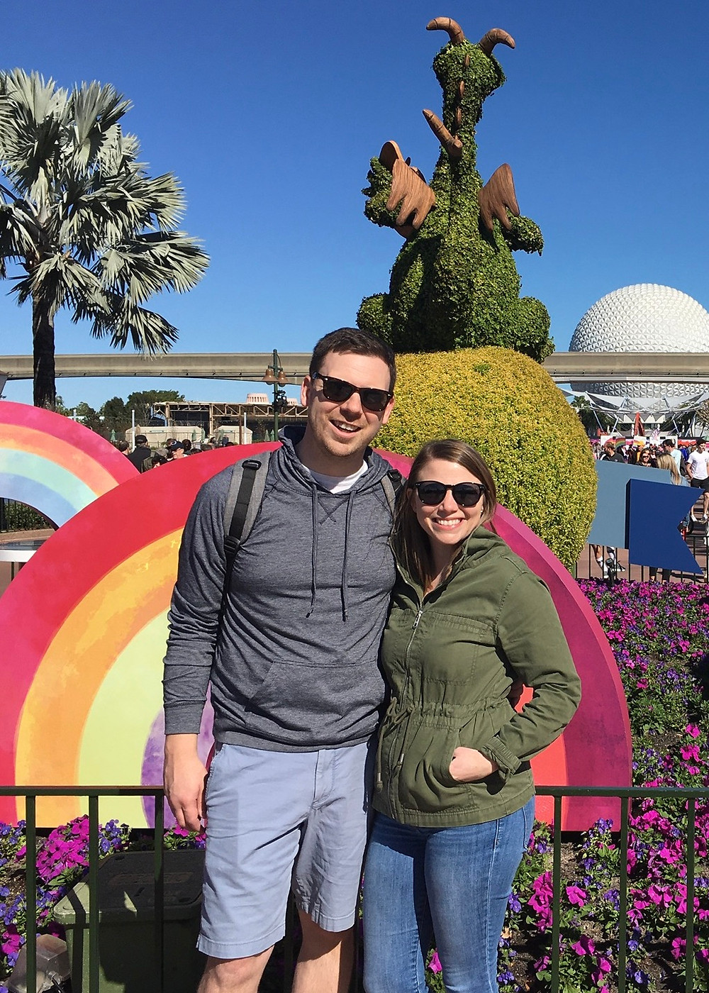 Two people wearing sunglasses at EPCOT in Disney World