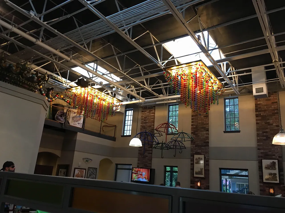Beads hanging from the ceiling of the Sassagoula Floatworks restaurant at Disney's Port Orleans - French Quarter