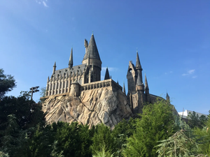 Hogwarts Castle on a mountain from Hogsmeade in Islands of Adventure part at Universal Orlando Resort