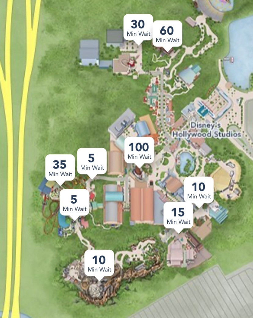 Disney World park map showing Hollywood Studios with Star Wars Galaxy's Edge and Toy Story land wait times