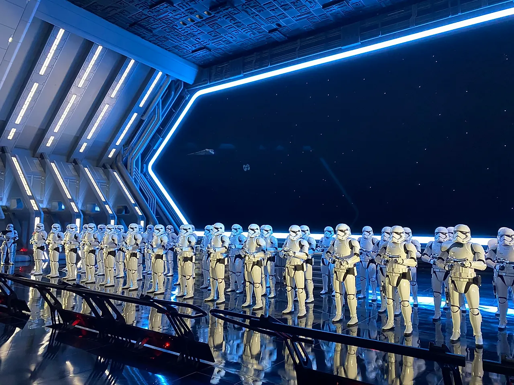 Storm troopers lined up in the queue of Rise of the Resistance at Star Wars Galaxy's edge in Hollywood Studios at Disney World