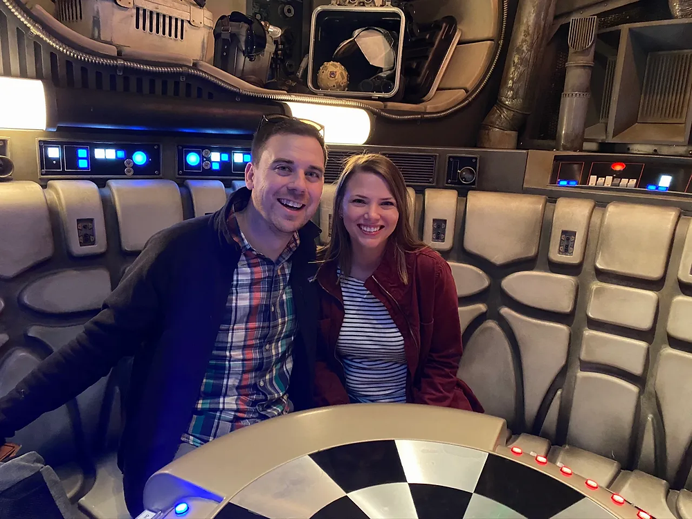Sitting in the Millennium Falcon on the ride in Star Wars Galaxy's Edge in Disney World