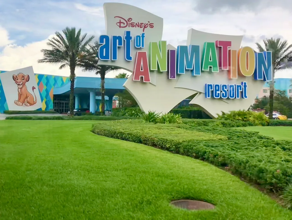 Entrance with large sign for Disney's Art of Animation Resort