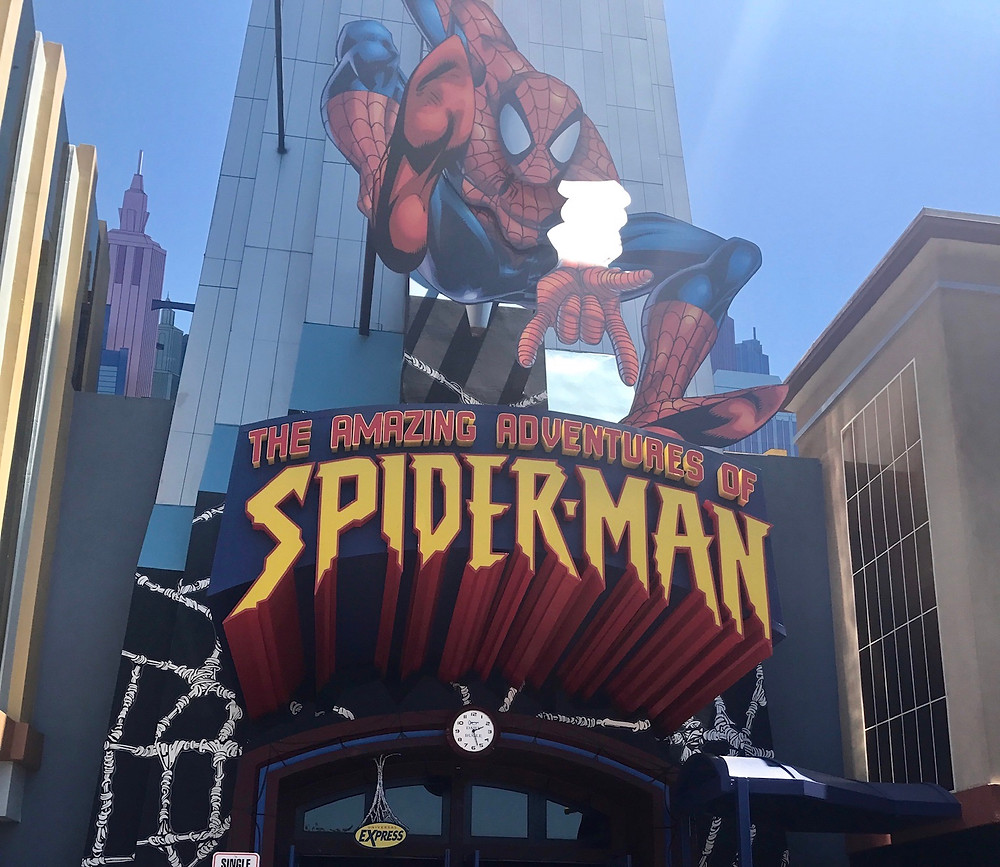 Spiderman facade at entrance to the ride at Islands of Adventure