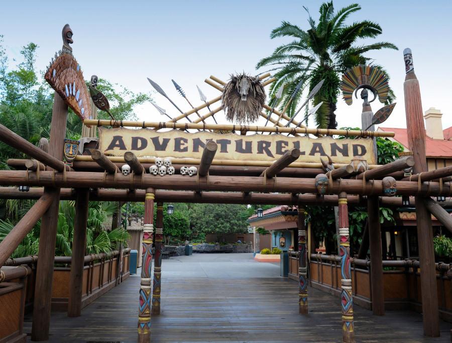 "Overhead sign reading ""Adventureland"" at Disney's Magic Kingdom"