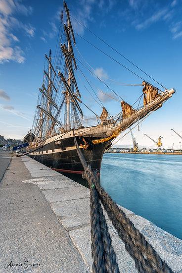 Le Belem dans le port de Saint-Malo