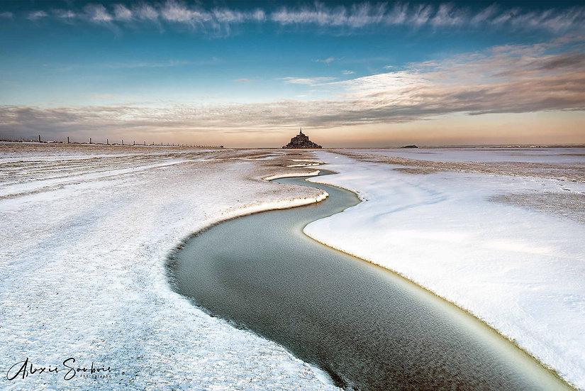 Gros épisode neigeux sur le Mont Saint-Michel