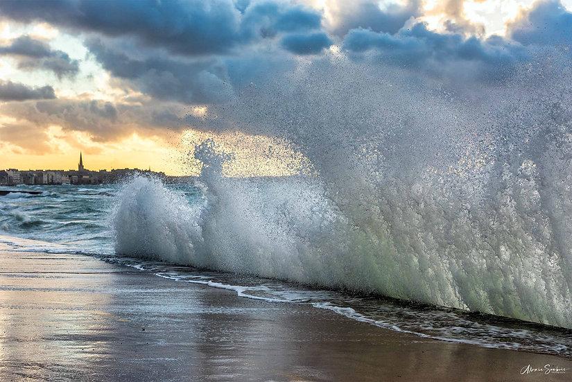 Superbe coucher de soleil pendant les grandes marées d'oct-21