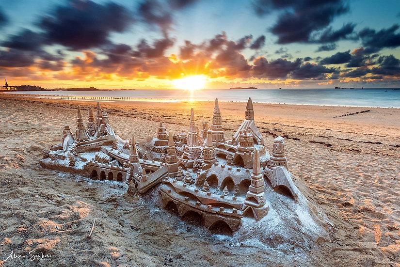 Magnifique château de sable sur la plage du Sillon