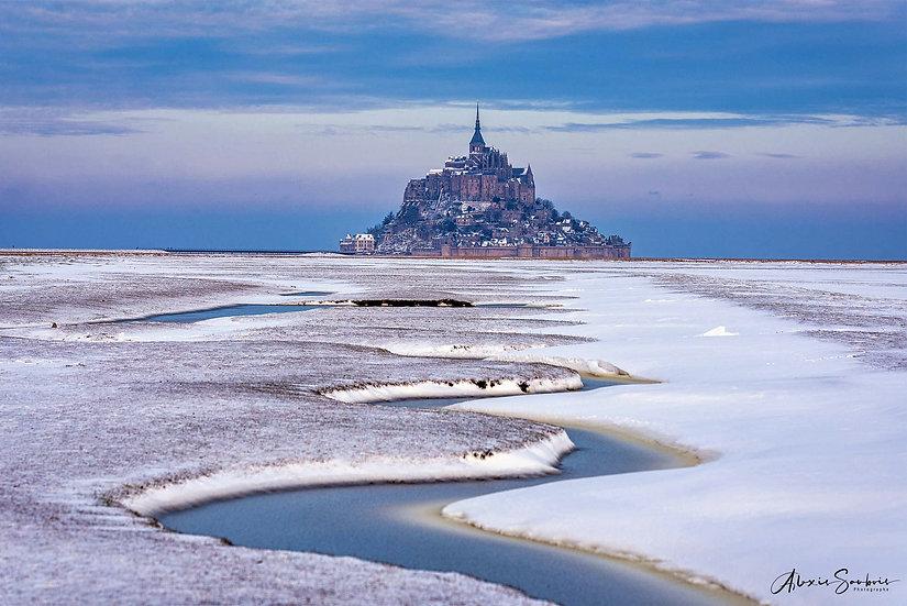 La neige sur le Mont Saint-Michel