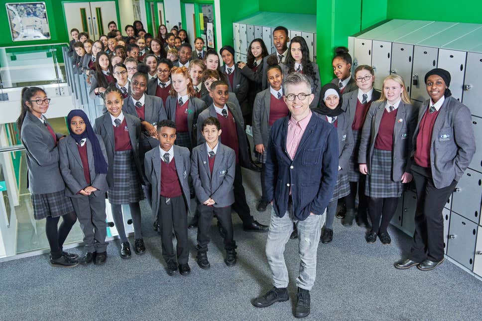 The students at Kensington Aldridge Academy near Grenfell Tower with their new choirmaster Gareth Malone