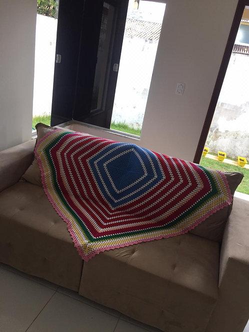 Manta de sofá em crochê