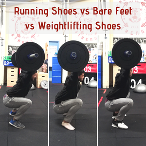 Overhead Squats with running shoes, no shoes, weightlifting shoes