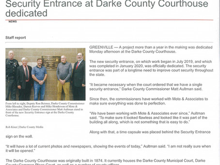 Security Entrance at the Darke County Courthouse was Dedicated by Commissioners & Project Engineer