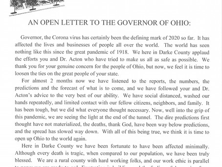 OPEN LETTER TO GOVERNOR DEWINE