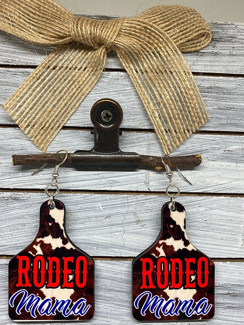 Rodeo Mama Cow Tag Earrings