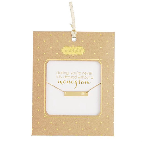 Gold bar monogram necklace