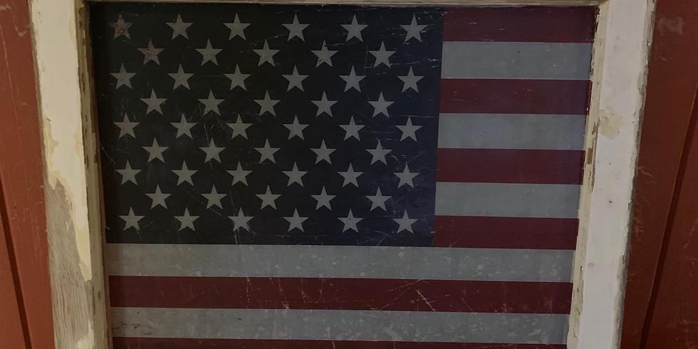 American flag barn window transfer