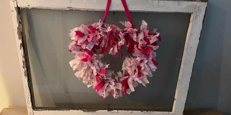 Rag tie heart wreath