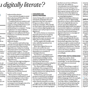 "Chairman Prof Duan wrote in the Straits Times - ""Are you digitally literate?"""
