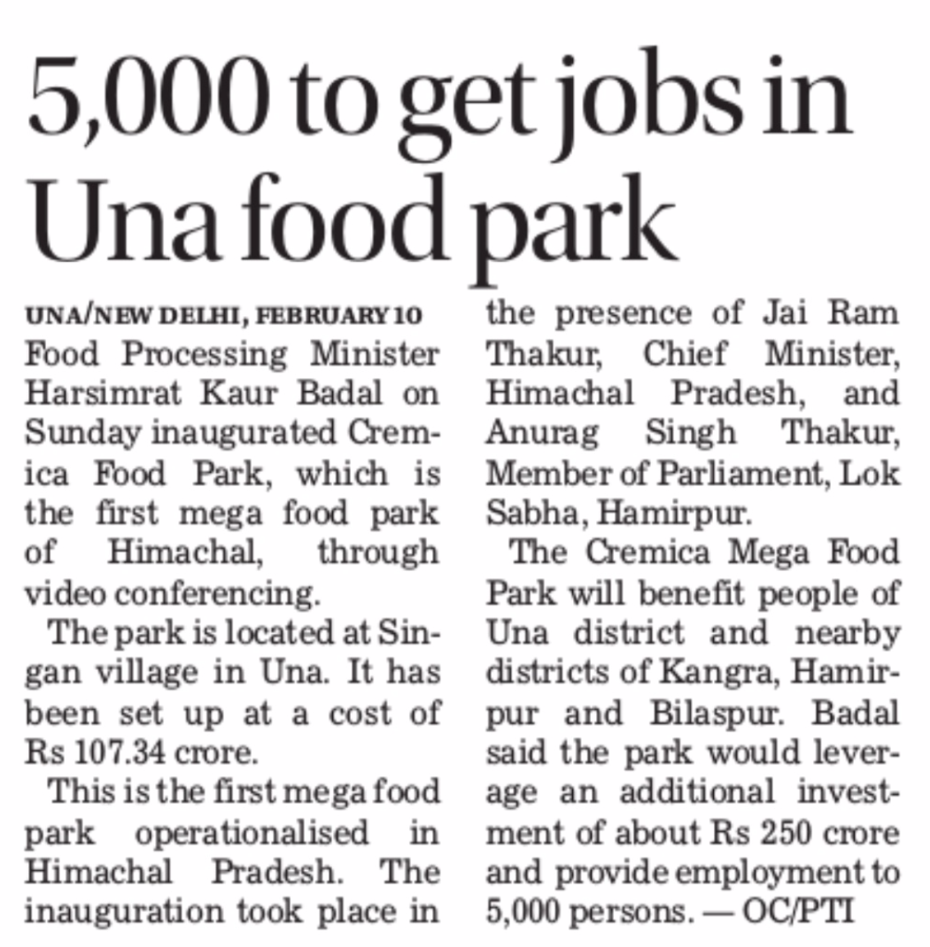 5000 to get jobs in Una Food Park