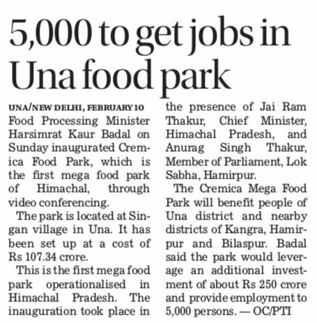 5000 to get jobs in Una Food Park
