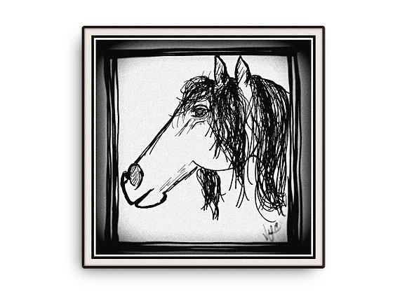12x12 Doodle Horse